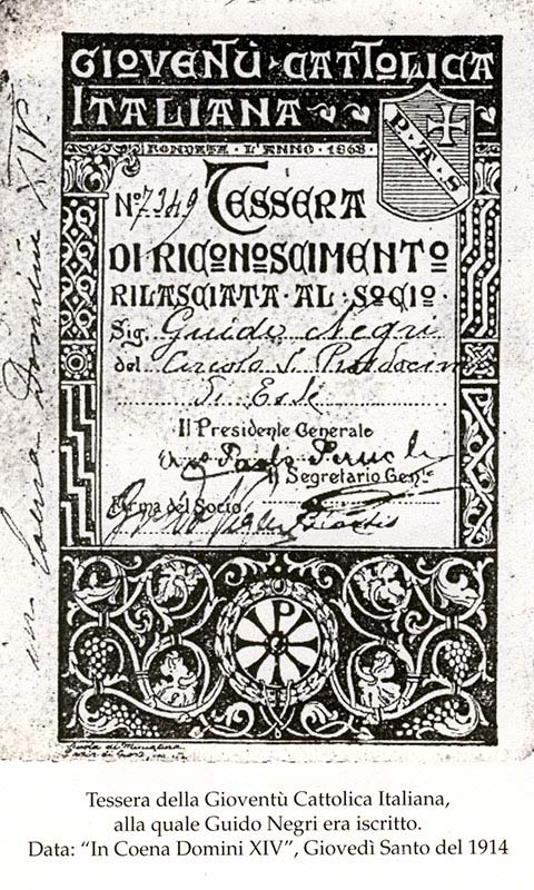 Tessera della Gioventù Cattolica Italiana 1914